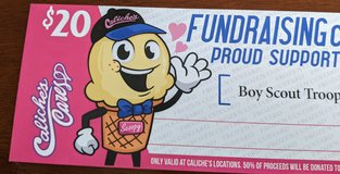 Boy Scouts $20 fundraising card for Caliche's in Alamogordo, New Mexico