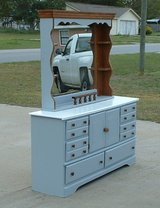 light gray dresser with hutch mirror in Byron, Georgia