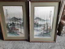 Pair of Framed Oriental Embroidered Garden Scenes in St. Charles, Illinois