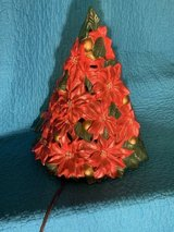 Vintage Poinsettia ceramic lighted Christmas Tree in Fort Campbell, Kentucky