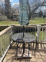 Outdoor small patio set with stand and umbrella in Aurora, Illinois