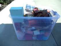 Box full of christmas Items and ribbons. in Travis AFB, California