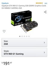 Gigabyte GTX 960 G1 Gaming 2GB GDDR5 Graphics Cards GV-N960G1 GAMING-2GD in Clarksville, Tennessee