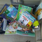 Big Bin of Kids books for 25 cents each. Outside Shopping in St. Charles, Illinois