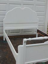 Vintage Full Size Bed - White Curved Footboard, Headboard, Slats and Rails in Sandwich, Illinois