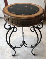 Round Side Table or Plant Stand w Faux Antiqued Leather & Wood Finish & Metal Base in Sandwich, Illinois