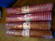 4 rolls of deco mesh red green red silver in Batavia, Illinois
