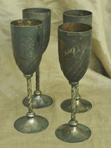 Old Italian metal glasses (4) for wine in Okinawa, Japan