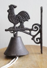 Metal bell with rooster, probably French in Okinawa, Japan