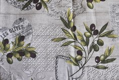 Italian tablecloth for 6 persons with olives, French pattern, new in Okinawa, Japan