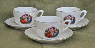 Richard Ginori set of 3 fine porcelain espresso cups with saucers in Okinawa, Japan