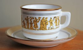 Set of 4 Greek demitasse cups with saucers for coffee or tea. in Okinawa, Japan