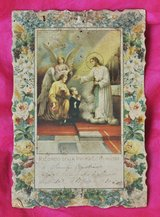1936 Italian church print, memory of the First Communion of an Italian boy in Okinawa, Japan
