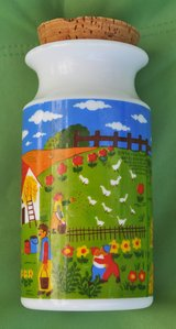 Italian white glass container for sugar/coffee with happy farm in Okinawa, Japan