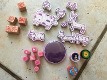 23 Rubber stamps and purple stamping ink (washable) in Stuttgart, GE