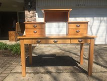 Maple Finish 4 Piece Desk with Configurable Hutch with Drawers in Naperville, Illinois