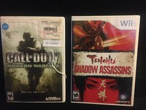 Wii Games - Call of Duty, Tenehu Shadow Assassins - Rated Mature in Naperville, Illinois