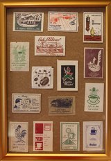 Vintage Dutch sugar sachets' collection, framed in Okinawa, Japan