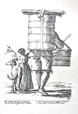 Reproduction of old Italian illustration 'Il Mercante' ('The Merchant) in Okinawa, Japan