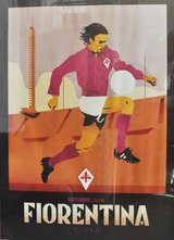 Reproduction of Italian Fiorentina football club vintage poster in Okinawa, Japan