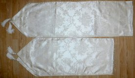 Set of 2 Table Runners ~White on Ivory w/tassels in Orland Park, Illinois