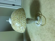 Metal Ornate Base Lamp with Glass Shade in Naperville, Illinois