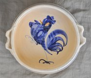 Handmade terracotta Italian bowl with rooster in Okinawa, Japan