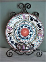 Sienna Hand Painted Plate with Wrought Iron Holder in Lackland AFB, Texas