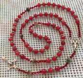 Rosary Jade Dark Red Special Dyed Matching Red Green Jade Pater Beads Italian Silver Medal Cruci... in Kingwood, Texas