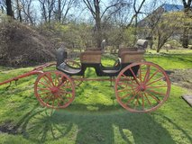 Vintage Early 1900s Wicker Phaeton Black / Red Horse Carriage Surrey - $2,500 in St. Charles, Illinois