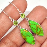 New - Copper Green Turquoise from Arizona and Green Peridot 925 Sterling Silver Earrings in Alamogordo, New Mexico