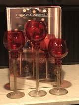 3- Red Glass Candle Holders in Fort Campbell, Kentucky
