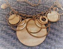 Necklace Vintage Silver Rings with White Mother of Pearl Disks Charms Many Sizes Extension Chain... in Kingwood, Texas