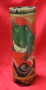 Indonesian hand-decorated bamboo with frog in Okinawa, Japan