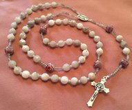 Catholic Rosary Gray Agate Beads Milifiori Pater Beads Czech Accents New Italian Silver Medal Cr... in Kingwood, Texas