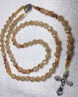 Catholic Rosary Butterscotch Colored Faceted Fire Polished Beads Two Shades Czech Accents Italia... in Kingwood, Texas