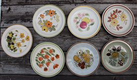 6 different Japanese flat plates with flowers in Okinawa, Japan