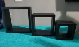 Set of 3 Black Wall Square Shelves in Clarksville, Tennessee