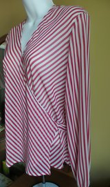 NINE & COMPANY RED & WHITE STRIPES LONG SLEEVES WRAP AROUND BLOUSE SIZE PS in Plainfield, Illinois