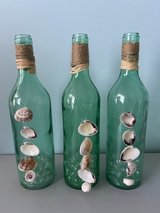 Green Beach Bottles With Shells Set of Three in Bartlett, Illinois