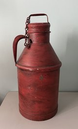 Decorative Milk Can Dark Red Metal in Bartlett, Illinois