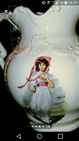 Antique 'Pinky' + 'Blue Boy' Pitcher and Wash Bowl in Camp Lejeune, North Carolina