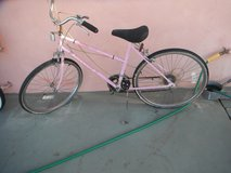 "Ladies HUFFY bike, ""Savannah"", 26"", 5 speed, pink color,  made in USA in Yucca Valley, California"