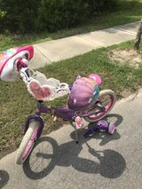 Disney Princess Bicycle with Training Wheels and 2 Princess Helmets in Camp Lejeune, North Carolina