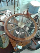 Ships Wheel & Light Glass Topped Table #1706-326 in Camp Lejeune, North Carolina