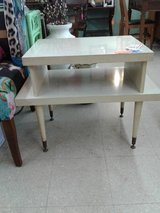 2 Mid Century Modern Cream Diamond Pattern Top Tables #2504-1 in Camp Lejeune, North Carolina