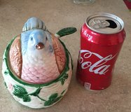 Vintage Haldon Group Ribbon & Bow Lidded Blue Bird on Nest Jam Dish in 29 Palms, California