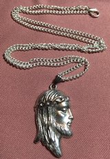 Jesus Profile Crown of Thorns Pendant Silver on Stainless Steel Chain in Kingwood, Texas