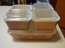 VINTAGE PYREX OLD ORCHARD 9 PC REFRIGERATOR SET in Plainfield, Illinois