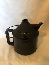 Antique New York Central Railroad oil can in Cleveland, Texas